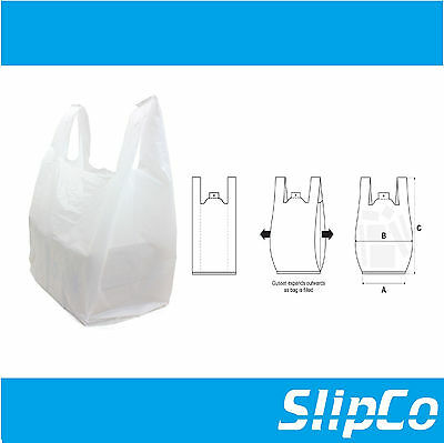 MEDIUM WHITE PLASTIC POLYTHENE VEST STYLE CARRIER BAGS 11 x 17 x 21