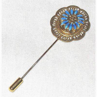 Scarf pin blue enamal flower B3