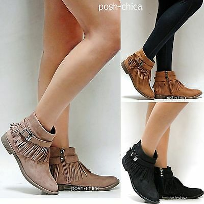 New Women AMy Taupe Tan Black Western Fringe Moccasin Boots Ankle Booties 5 - 10