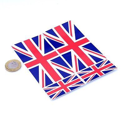 "UK Flag Stickers x4 3"" & 2"" Car Vinyl Decals United Kingdom Union Jack Flag"