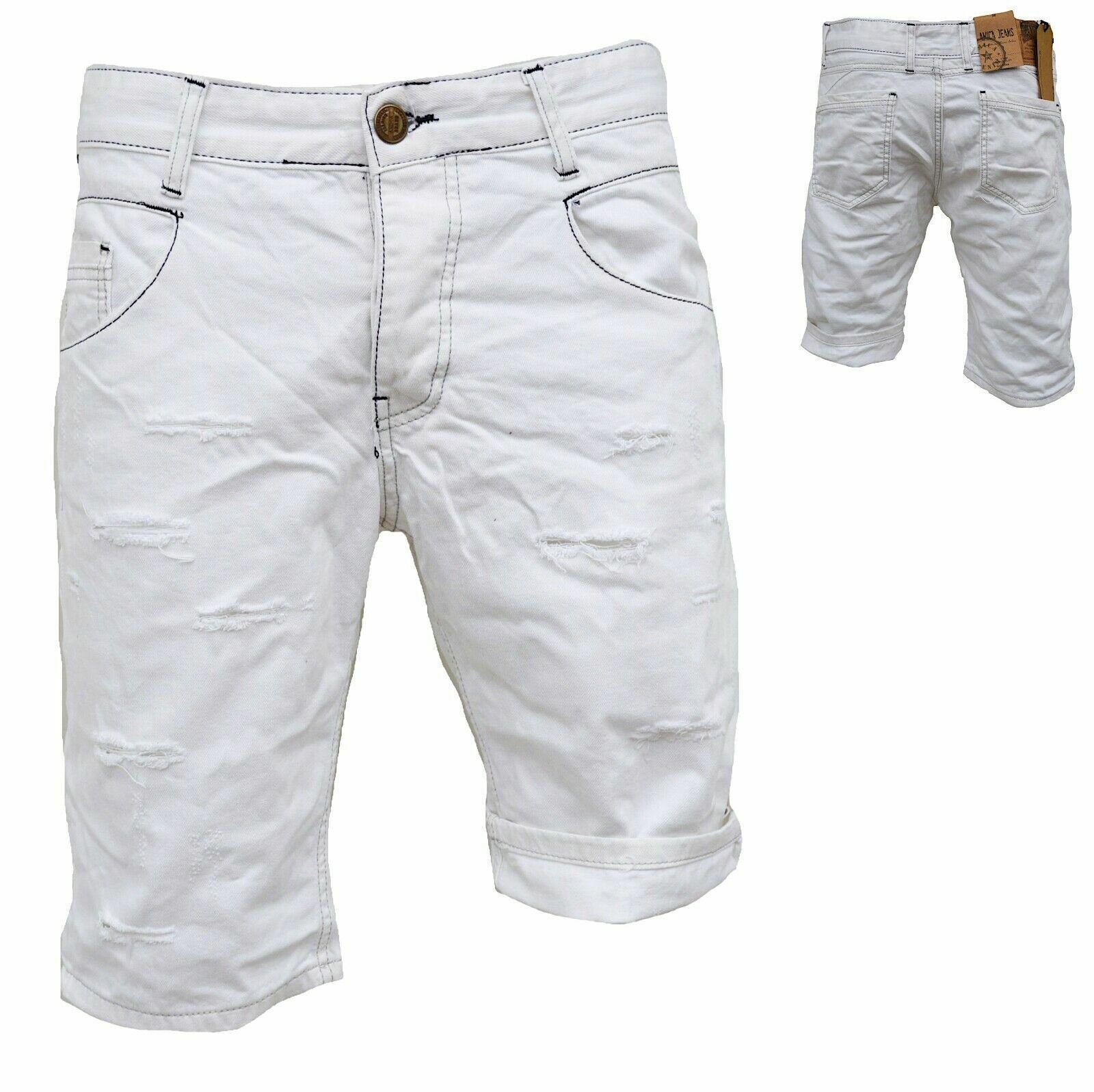 Herren Bermuda Jeans Shorts Stretch Denim Kurze Capri Hose Sommer 029 Weiss