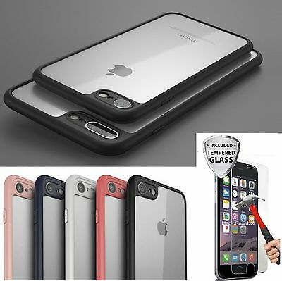 Crystal Clear Bumper Ultra Thin Case Cover iPhone 6s 7 8 X Plus + Tempered Glass Thin Crystal