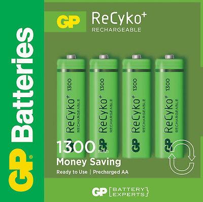 1 x 4 GP ReCyko+ NiMH Akku Mignon AA 1300 mAH Neue Akku Batterie Batterien