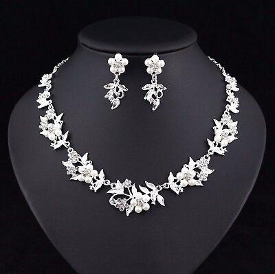 (Floral Pearl Austrian Rhinestone Crystal Necklace Earrings Set Bridal Prom N51)