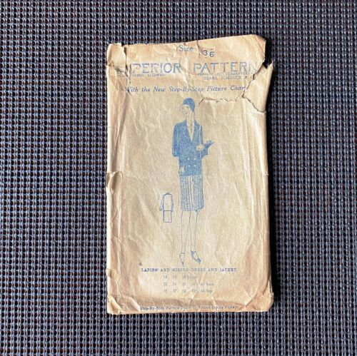 Superior 8428: 1920s MISSES DRESS~JACKET Sewing Pattern Complete Antique Vintage