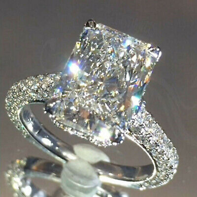 4.33ct Radiant cut Solitaire Diamond Engagement Ring Band Sterling Silver 925 Cut Solitaire Ring