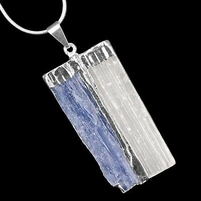 CHARGED Blue Kyanite SELENITE Crystal Chakra Pendant Sterling Silver Necklace Re Kyanite White Pendant