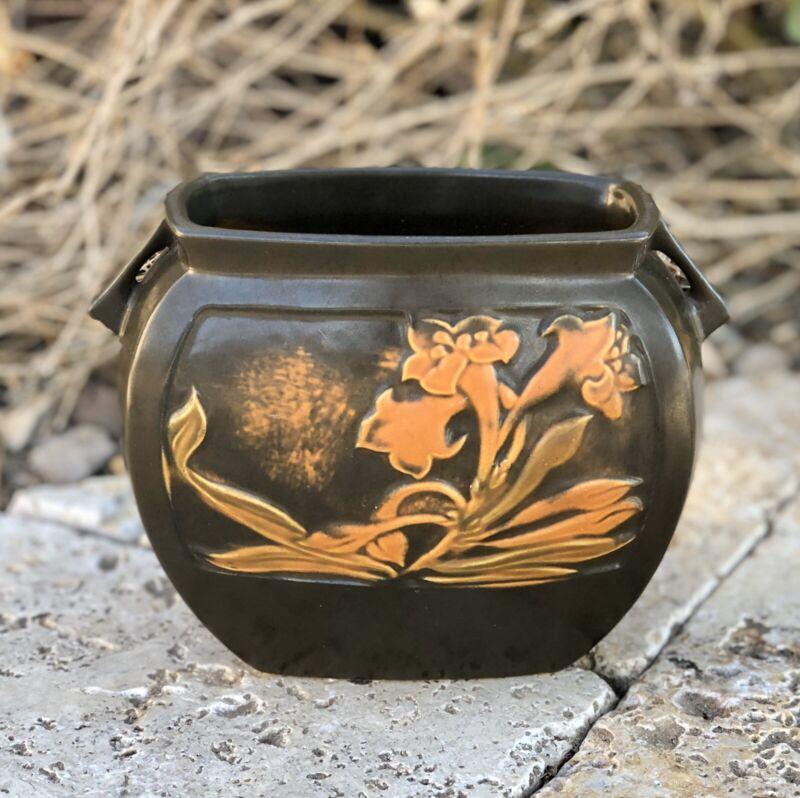 Roseville Rosecraft Brown Flower Panel Wide Pottery Pillow Vase Vintage