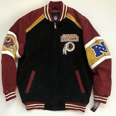Nfl G-iii Suede (Washington Redskins NFL G-III Colorblocked Suede Black Varsity Jacket Men's XL )