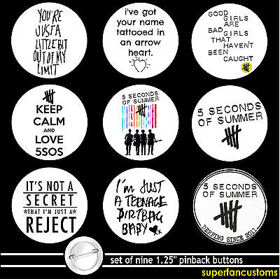 5 Seconds of Summer SET OF 9 PINBACK BUTTONS 5sos pins quotes lyrics luke #1023