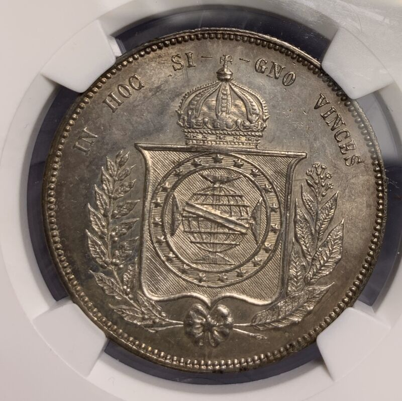 1857 BRAZIL 2000R SILVER COIN NGC MS63