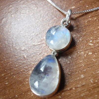 Blue Moonstone Teardrop & Round 925 Sterling Silver Pendant Corona Sun Jewelry