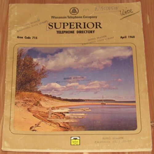 1968 WISCONSIN TELEPHONE DIRECTORY, SUPERIOR, AREA CODE 715, RESIDENT & BUSINESS