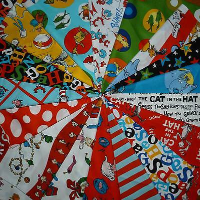 40 4-inch DR. SEUSS Quilt Fabric Squares - Grinch, Cat in the Hat, Lorax, Etc. - Dr Seuss Crafts