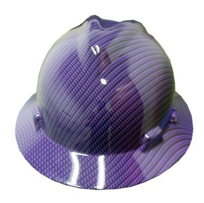 Hydrographic Purple Carbon Fiber Msa V-guard Full Brim Hard Hat
