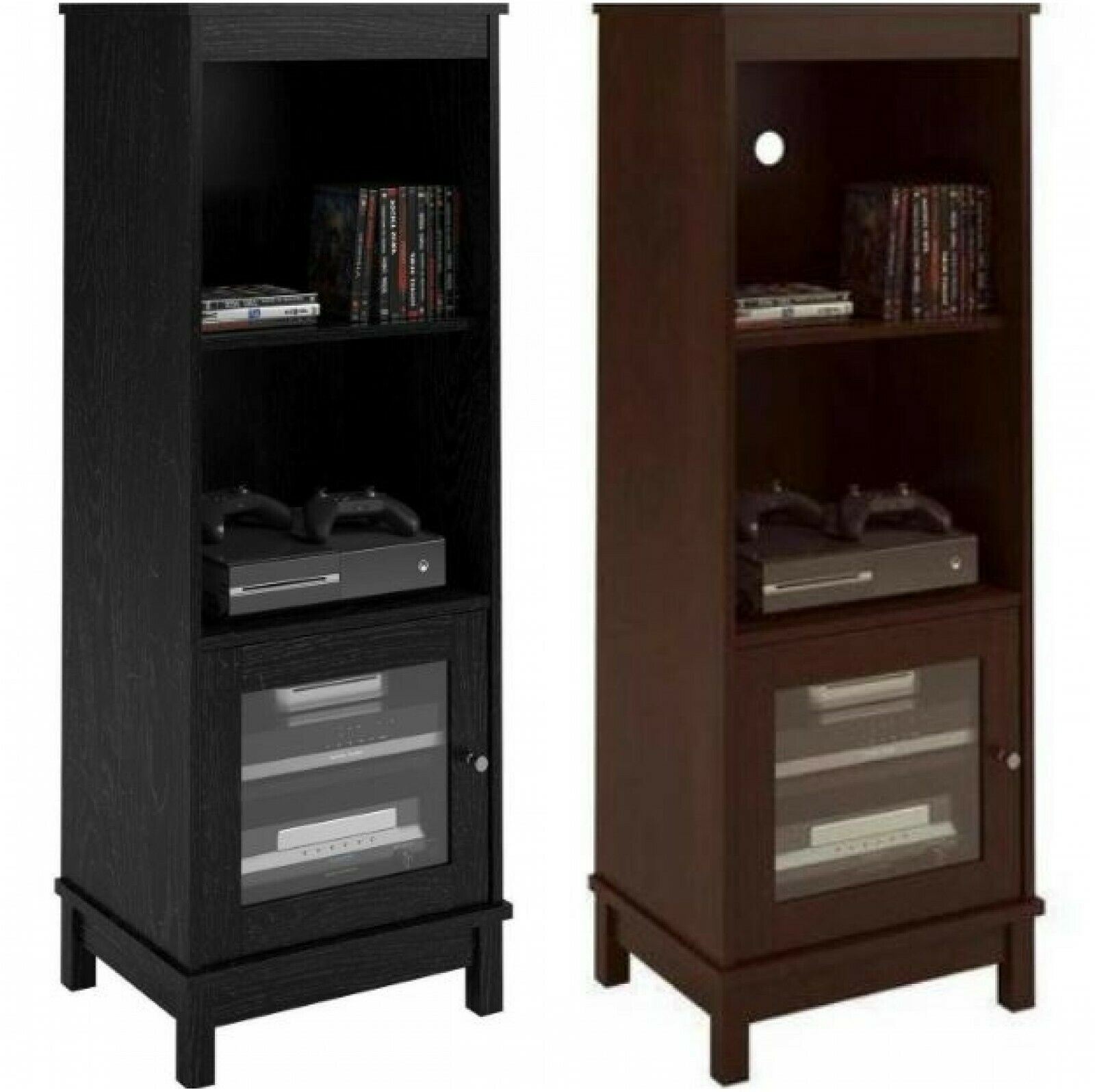 Media Center Bookcase Cabinet Wire Hole Door Furniture Audio