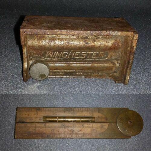 vintage carpentry tools - WINCHESTER BUTT GAUGE & J. RABONE #1190 FOLDING RULER
