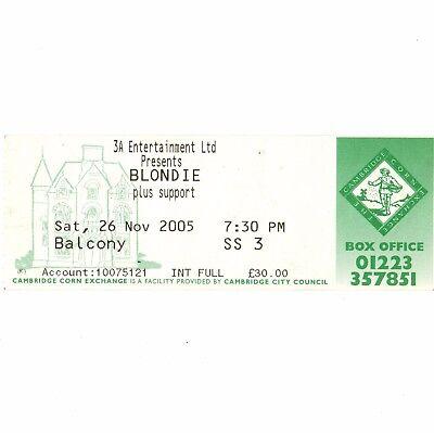 BLONDIE Concert Ticket Stub CAMBRIDGE 11/26/05 CORN EXCHANGE DEBBIE HARRY Rare