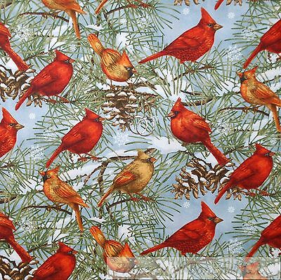 BonEful FABRIC FQ Cotton Quilt VTG Blue Red Cardinal Bird Tree Scenic Snow*flake
