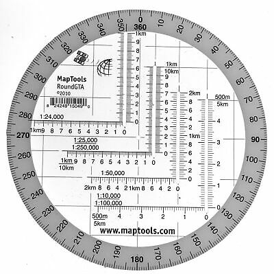 MapTools Round Military Coordinate Scale and Protractor