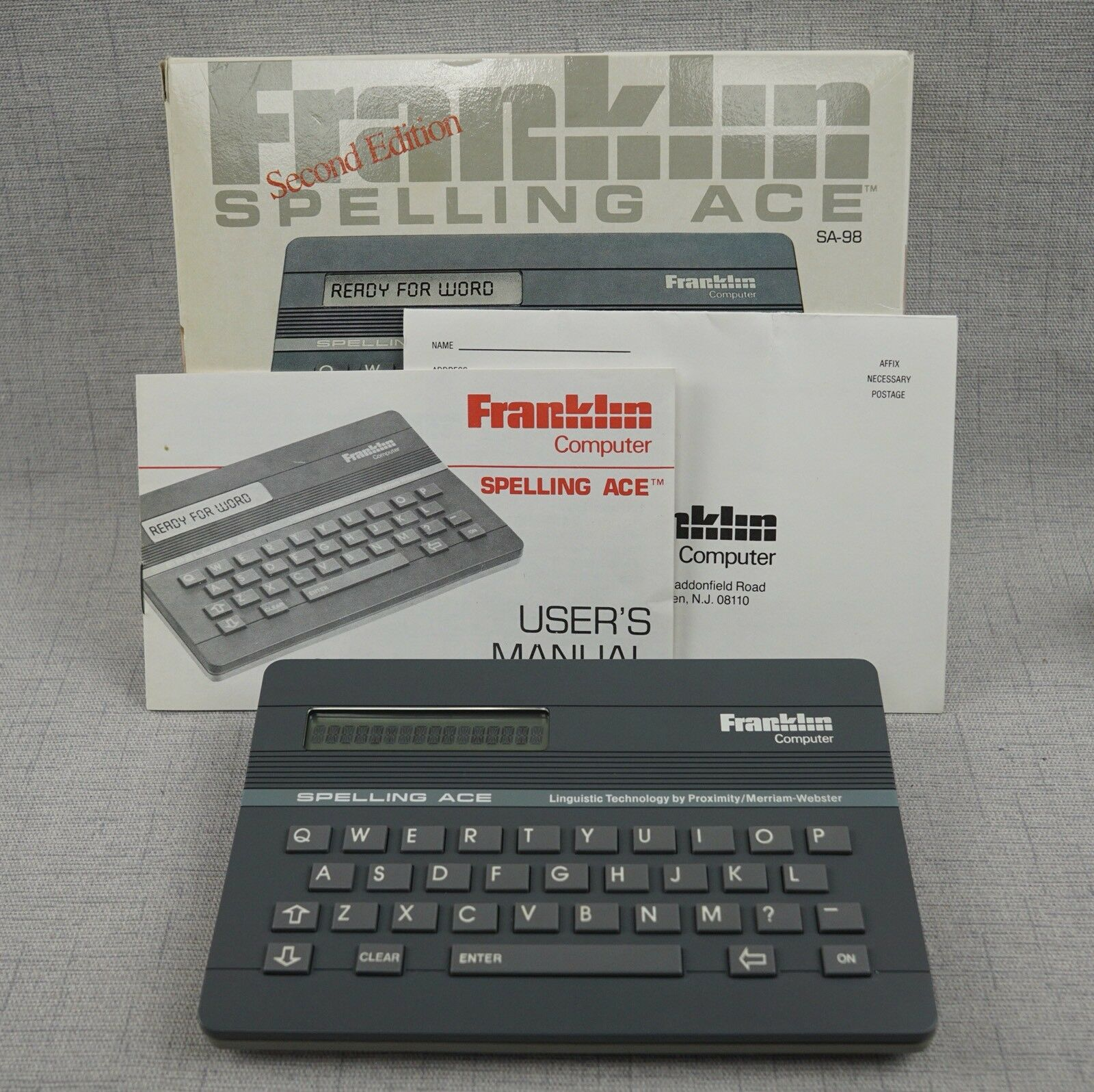 Franklin Spelling Ace SA-98 English Spelling Checker 2nd Edition Box and Manual
