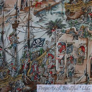 BonEful FABRIC FQ Cotton Quilt VTG Brown Pirate Ship Boat Skull Skeleton Mexican