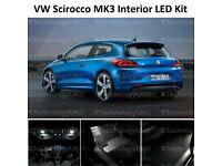 PREMIUM VW SCIROCCO III MK3 FULL INTERIOR LED LIGHT BULBS KIT REPLACEMENT WHITE