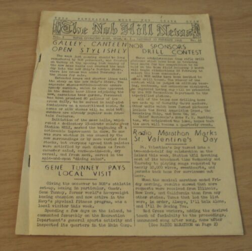 """RARE WWII 1945 US NAVY Newsletter~""""The NOB HILLS NEWS"""" February on GUAM~"""