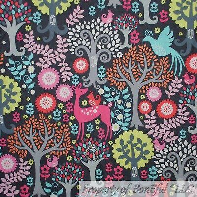 BonEful FABRIC FQ Cotton Quilt Gray Wood*Land Tree Animal Deer Bird Flower Girl
