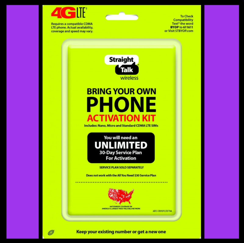 Straight Talk SIM Card Verizon Network 4G LTE Activation CDMA Kit with Sim Tool