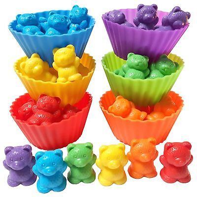 Rainbow Matching Game | Jumbo Sorting and Counting Bears with Stacking Cups