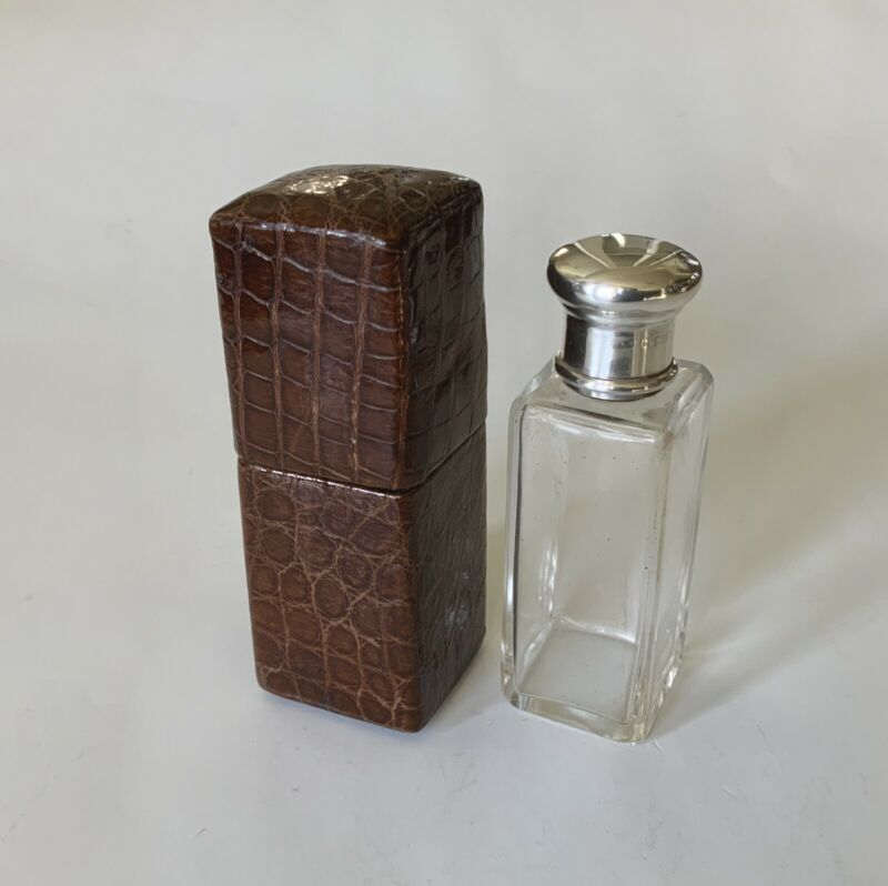 Antique Crocodile Alligator Perfume Box With Glass Jar Sterling Silver Lid