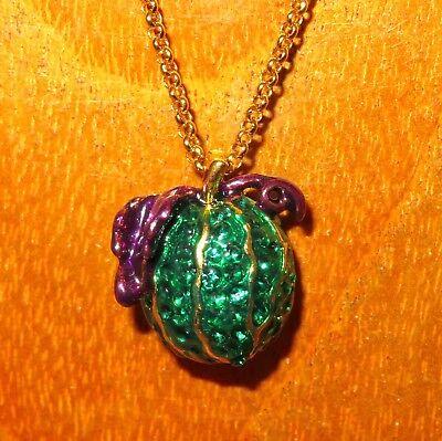 Russische Swarovsky Kristall Grün Kürbis Lila Blätter Ei Anhänger Halloween