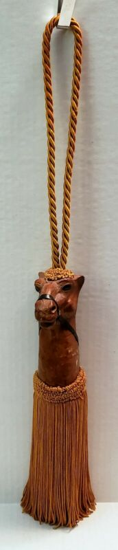 Leather CAMEL HEAD Decorative Rope TASSEL Drapery Tie-Back Unique Home Decor