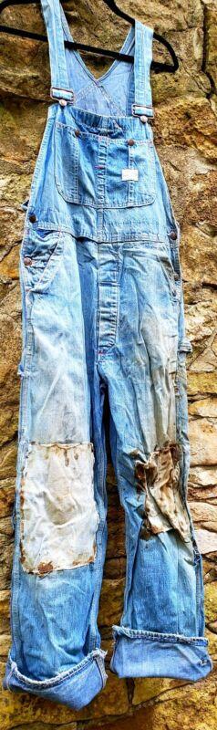 Auth Vintage 50s BIG MAC Denim Overalls Workwear Coveralls Distressed Western