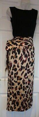 John zack animal print wrap skirt with scash size 12 Brown multi