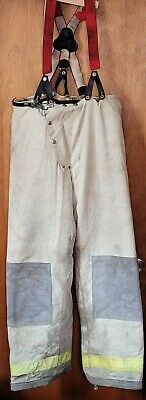 38x34 Janesville Tan Firefighter Pants Turnout Bunker Fire Gear Quilted 80s Vtg