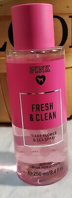 Victoria Secret PINK FRESH AND CLEAN TIARE FLOWER AND SEA SPRAY Body Mist 8.4 oz