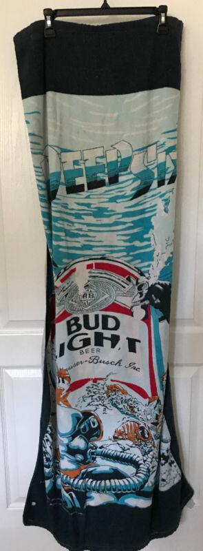 VTG Budweiser Bud Light Beer Beach Towel Deep Six Divers Ocean Sea 80s 1980s