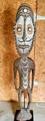 SEPIK RIVER PAPUA NEW GUINEA CARVED PAINTED MALE ANCESTOR  FIGURE 80 INCHES!!!