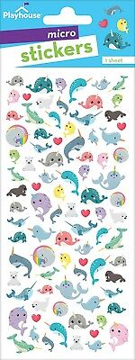 Scrapbooking Stickers Crafts PH Micro Narwhal Whales Mystical Sea Life Seal Fish