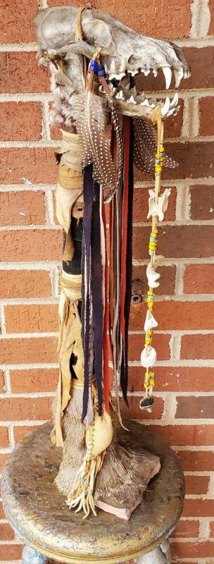 Native American Indian  ceremonial Medicine- spirit stick Coyote Skull . Mounted