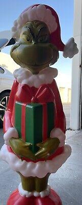 "2021 Blow Mold The Grinch Dr Seuss Christmas 36"" Gemmy New Light Up Decor HTF"