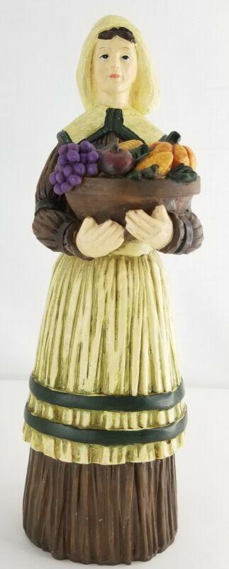 "Harvest Thanksgiving Pilgrim Woman Figure Lady Figurine 10.5"" Tall Fall Decor"