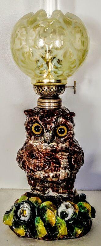 Porcelain Owl Miniature Oil Lamp 7/29/1881, RARE UV reactive Leaves and Shade
