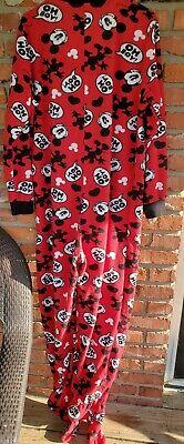 Disney Mickey Mouse PJs Size XL  15/17 Red Black Flannel Footed Pajamas EUC Flannel Footed Pajamas