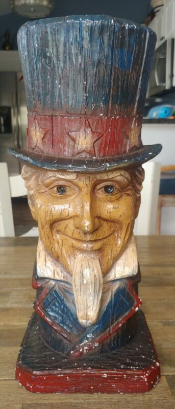 Uncle Sam Ceramic Plaster Bust Statue BEAUTIFUL! Americana USA Patriotic July 4