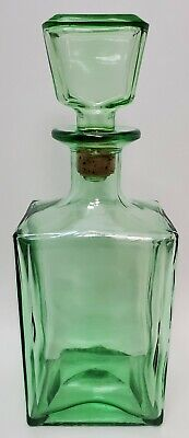 Vintage Green Glass Liquor Decanter Bottle 10.5