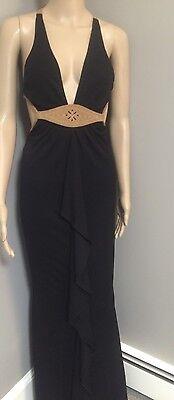 $1500 J. Mendel Paris Black Full Length Open Back Dress with Suede Trim sz 4