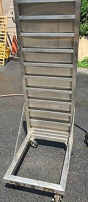 Used Commercial Stainless Portable Fryer Basket Rack Holder Cart